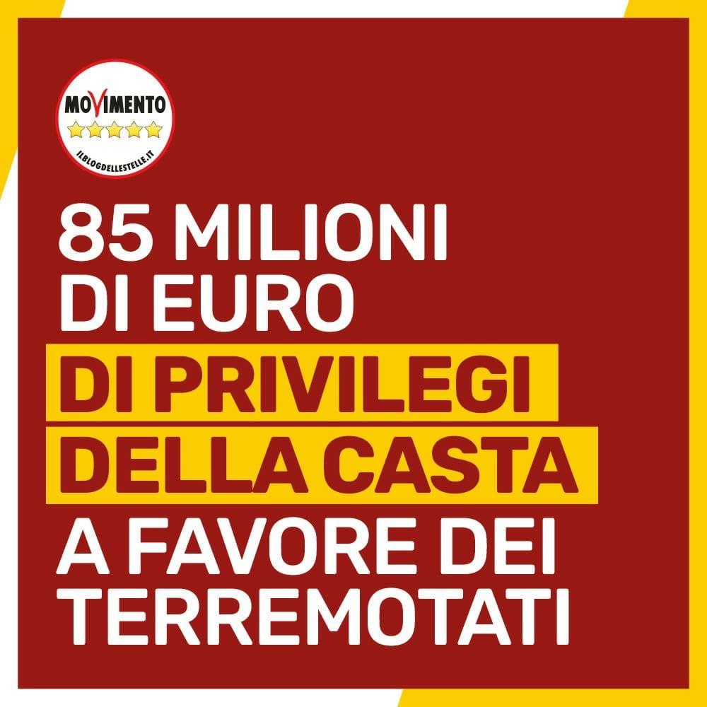 85 milioni di euro ai terremotati