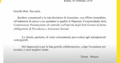 Teresa Manzo Restituzione Indennità