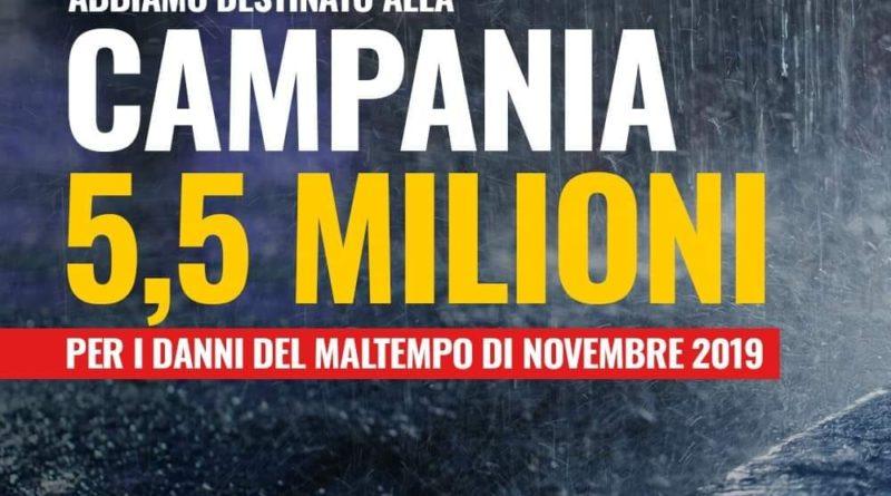 Campania, 5,5 milioni per i danni del maltempo di novembre 2019