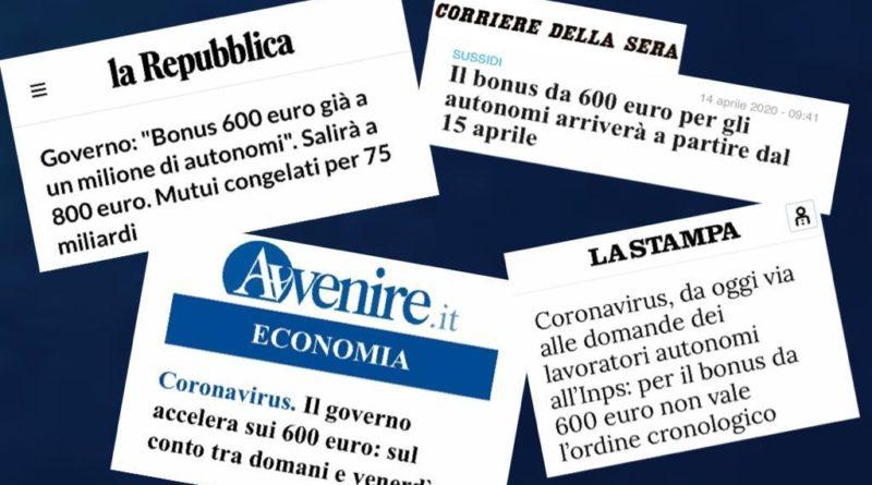 Dall'INPS bonus di 600 euro