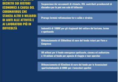 Decreto Ristori: indennizzo per stagionali turismo, termali e spettacolo